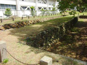Vestige du mur de pierre. Seule une partie des pierres émerge et la plupart ont été retirées